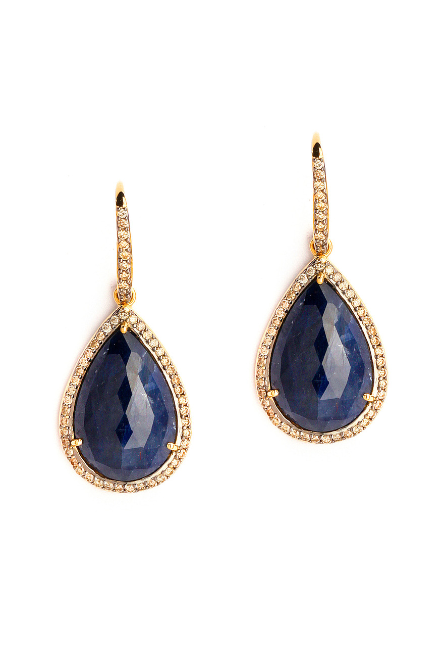 Blue Sapphire Tear Drop Rosecut Earrings With Champagne Diamonds