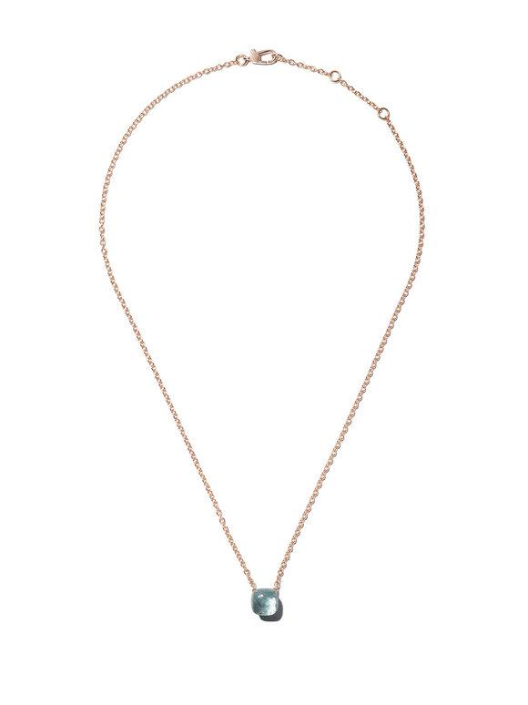 Pomellato 18K Rose Gold Nudo Blue Topaz Pendant Necklace