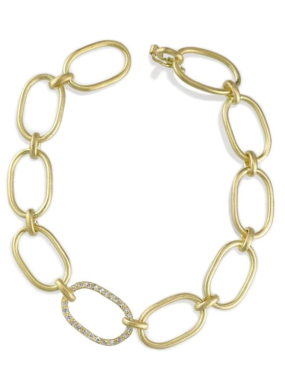 Irene Neuwirth 18K Yellow Gold Pavé Link Bracelet