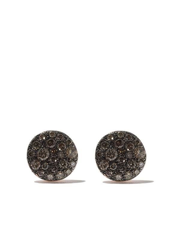 Pomellato 18K Rose Gold Cognac Diamond Disc Earrings