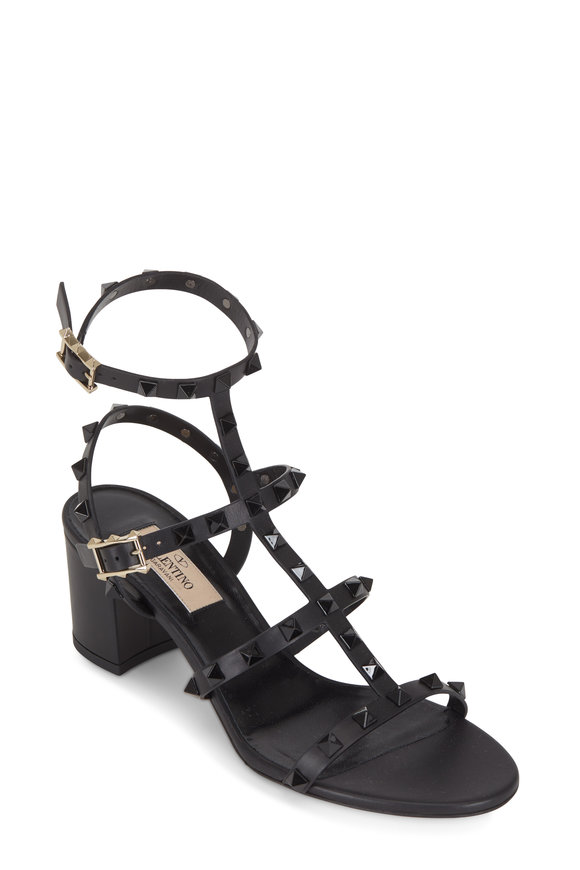 VALENTINO GARAVANI Rockstud Black Leather T-Strap Sandal, 60mm