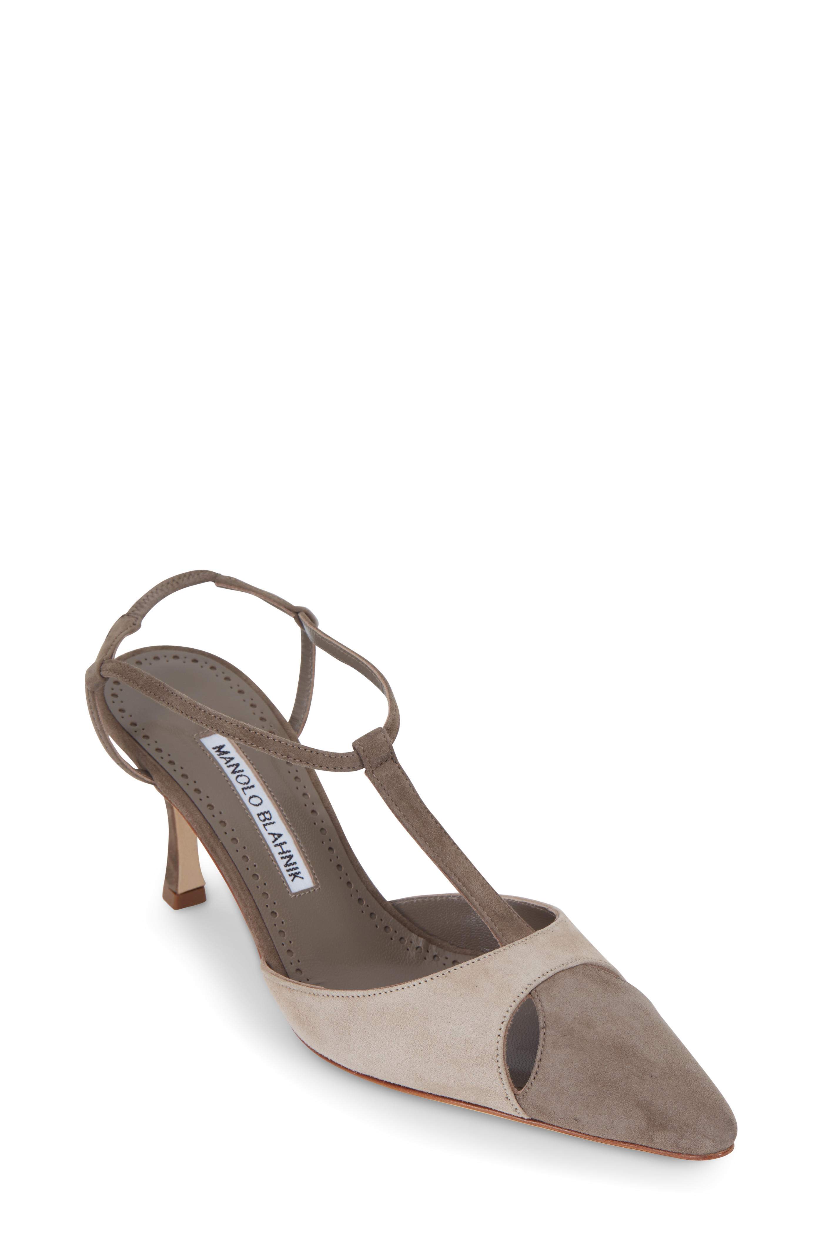 80ff9d167052b Manolo Blahnik - Turgimod Taupe Suede T-Strap Pump, 70mm | Mitchell ...