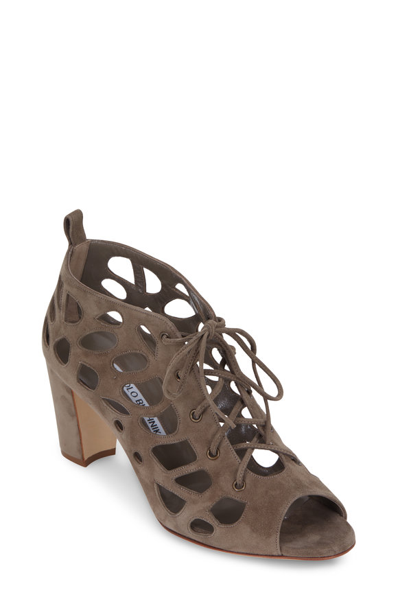 Manolo Blahnik Gongolamod Taupe Suede Lace-Up Sandal, 70mm