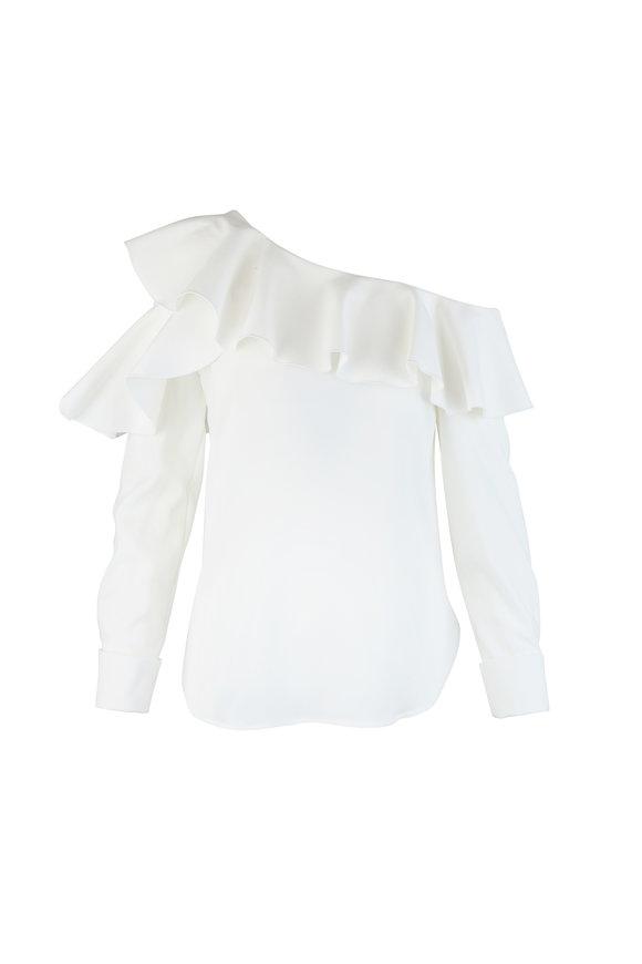 Oscar de la Renta White Silk One-Shoulder Ruffle Blouse