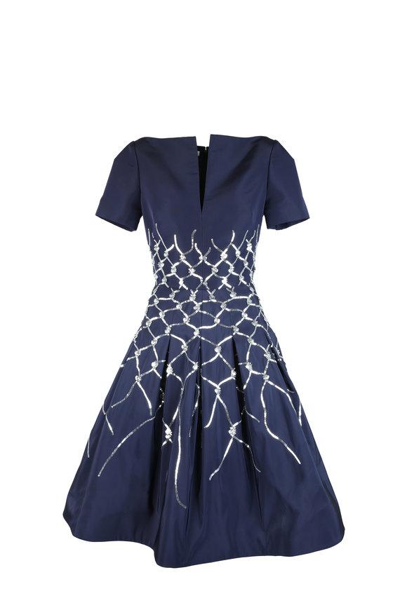 Oscar de la Renta Navy Blue Silk Sequin Detail Dress