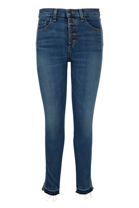 Veronica Beard Debbie Teal Tux Striped Skinny Jean