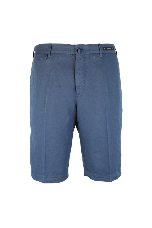 PT01 Navy Blue Linen Blend Bermuda Shorts