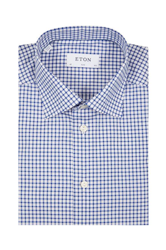 Eton Royal Blue Tattersall Slim Fit Dress Shirt
