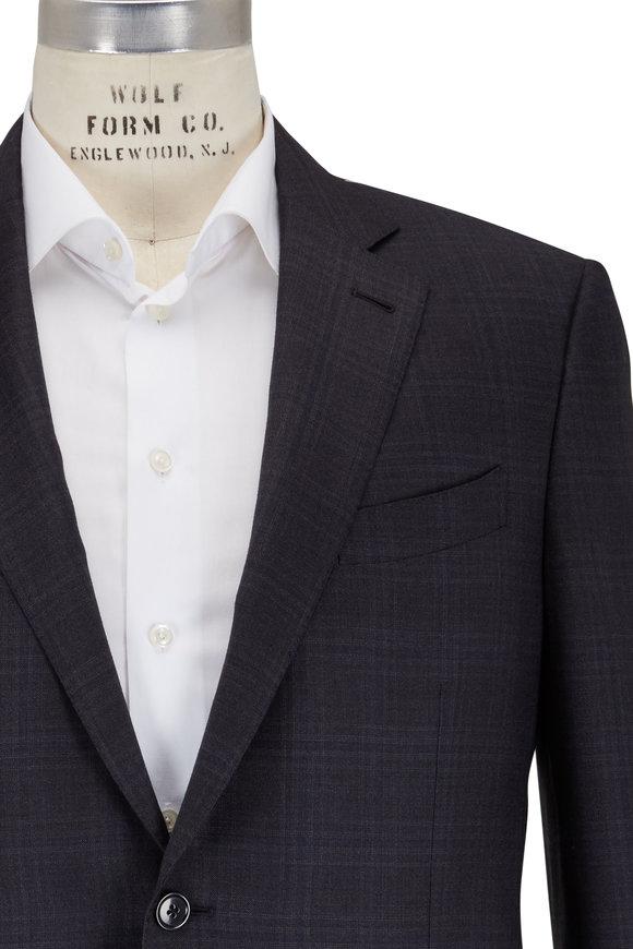 Ermenegildo Zegna Milano Charcoal Gray & Blue Windowpane Suit