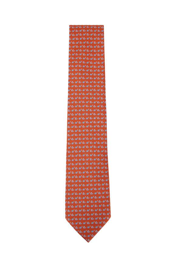 Salvatore Ferragamo Orange Snail Silk Necktie