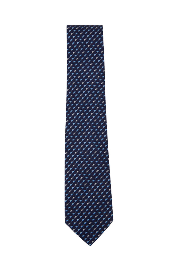 Salvatore Ferragamo Navy Blue Mice Silk Necktie