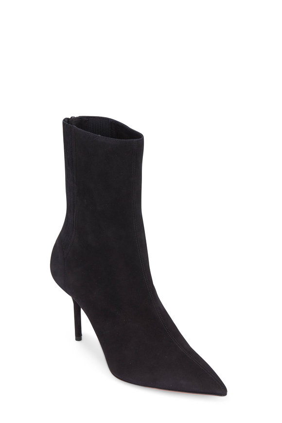 Aquazzura Saint Honore' Black Suede Bootie, 85mm