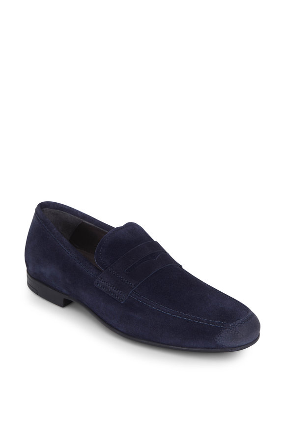 To Boot New York Alek Space Blue Suede Penny Loafer