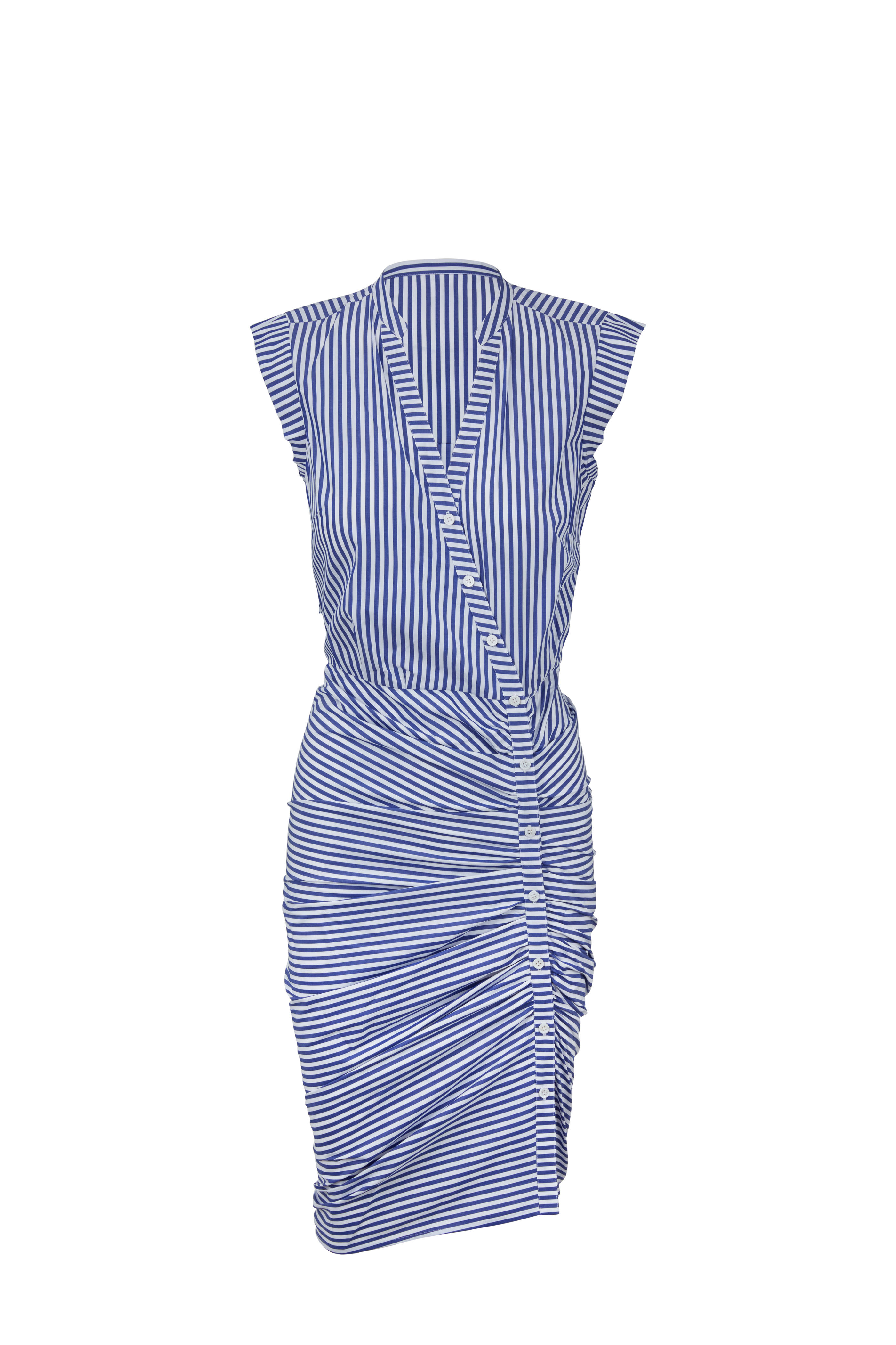 Veronica Beard Blue White Striped Ruched Shirtdress Mitchell