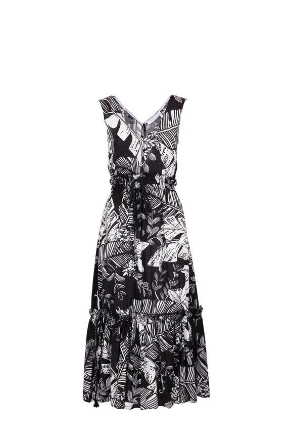 See by Chloé Black & White Leaf Print Sleeveless Dress
