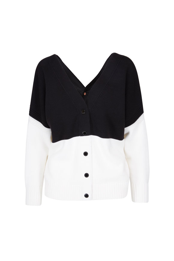 See by Chloé Black & White Double-V Knit Cardigan