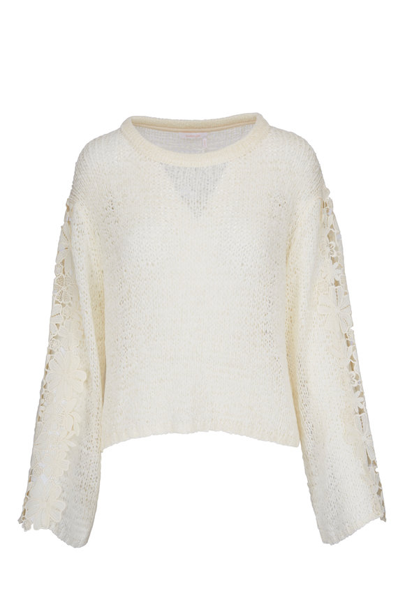 See by Chloé Buttercream Long Sleeve Lace Top