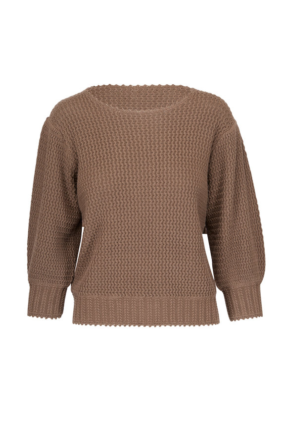 See by Chloé Cacao Brown Knit Three-Quarter Sleeve Sweater