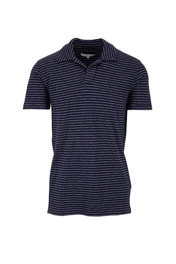 Orlebar Brown Felix Navy Striped Cotton Polo