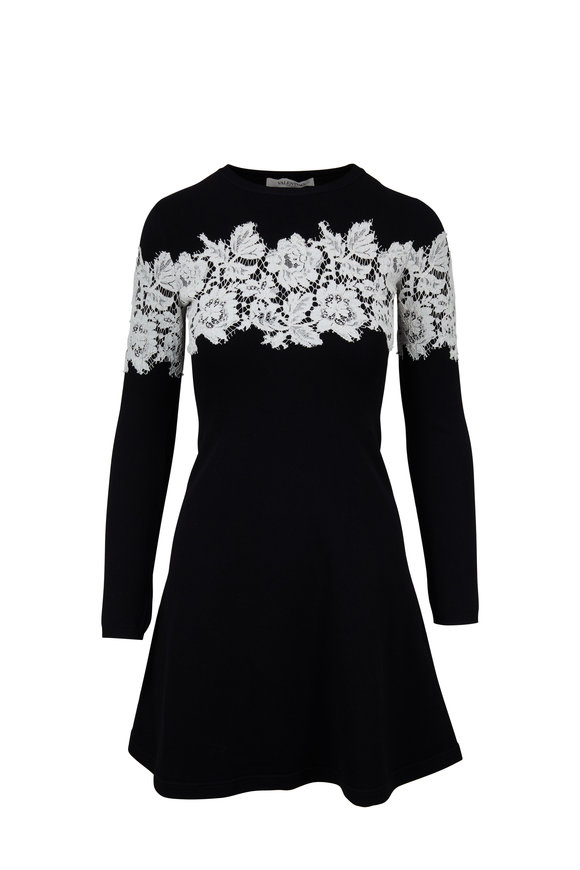 Valentino Black Knit With White Lace Trim Dress