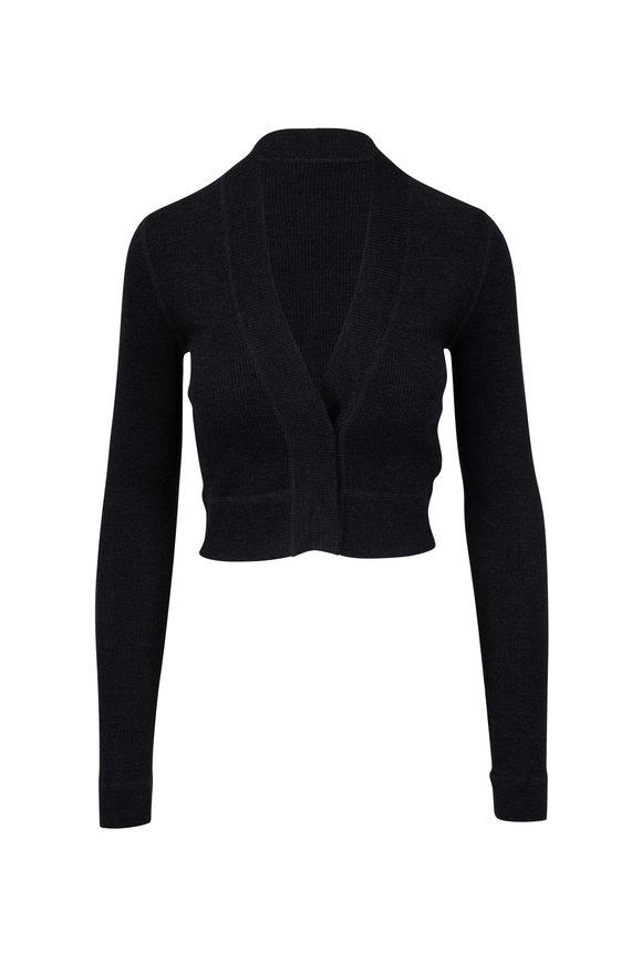 Brunello Cucinelli Anthracite Fine Ribbed Wool & Cashmere Cardigan