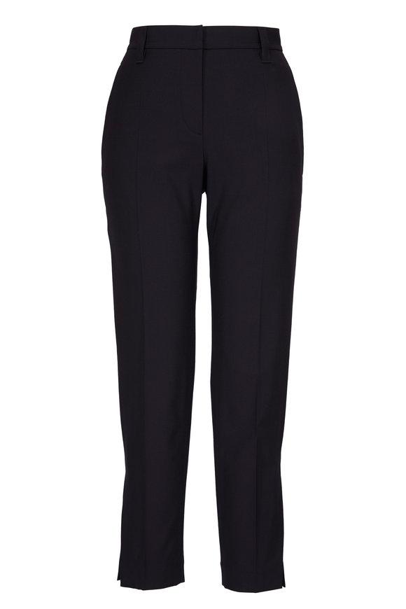 Brunello Cucinelli Black Wool Straight Leg Vented Hem Pant