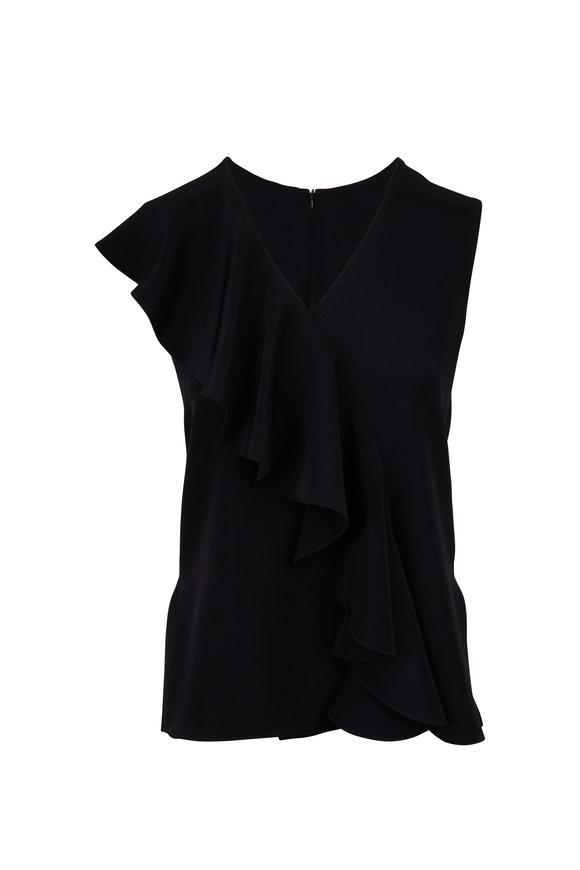 Adam Lippes Black Silk Cap Sleeve Ruffle Top