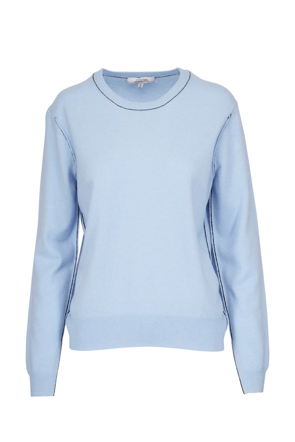 Dorothee Schumacher Rebel Romance Blue Cashmere Contrast Trim Sweater