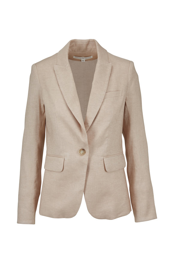 Veronica Beard Beige Linen Blend Cutaway Jacket