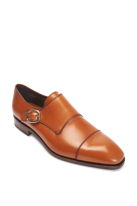 Carmina Simpson Light Brown Leather Cap-Toe Monk Shoe