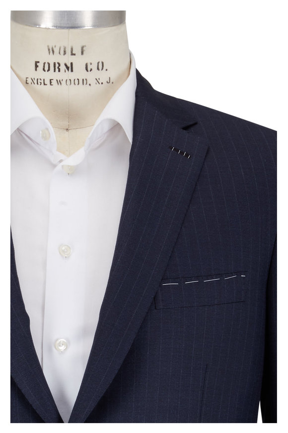Brioni Navy Blue Pinstriped Suit