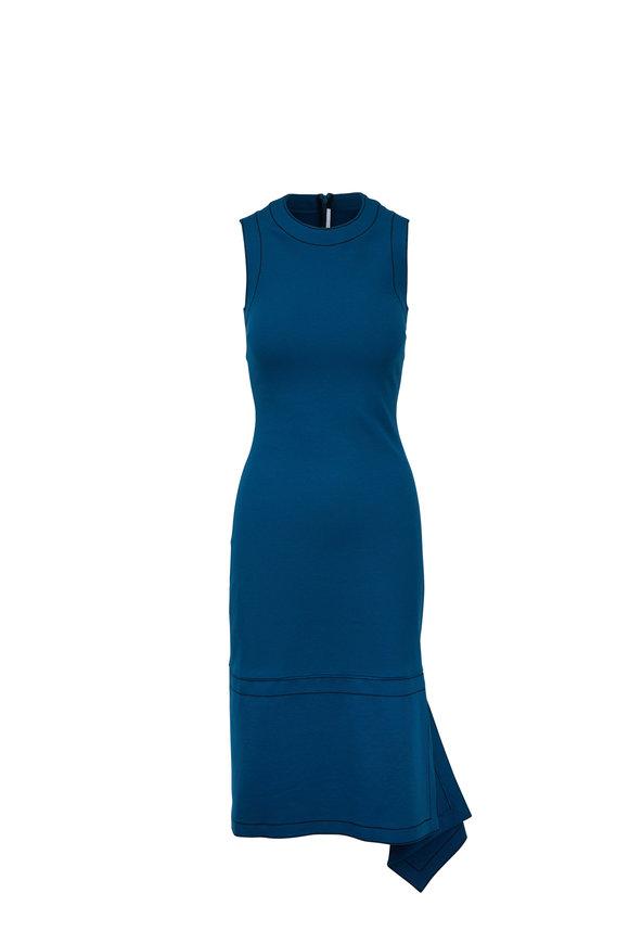 Rosetta Getty Teal Jersey Draped Sleeveless Dress