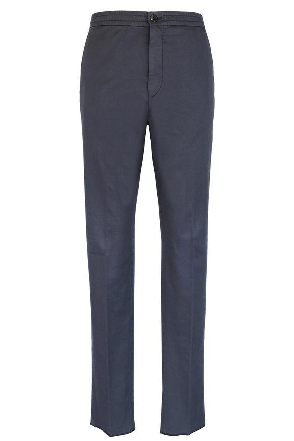 Ermenegildo Zegna Gray Stretch Cotton Drawstring Pant