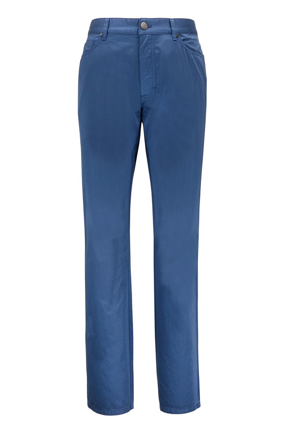 Ermenegildo Zegna Gan Blue Five Pocket Cotton Pant