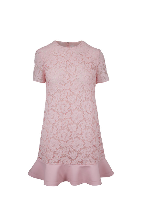 Valentino Light Pink Lace Peplum Trim Dress