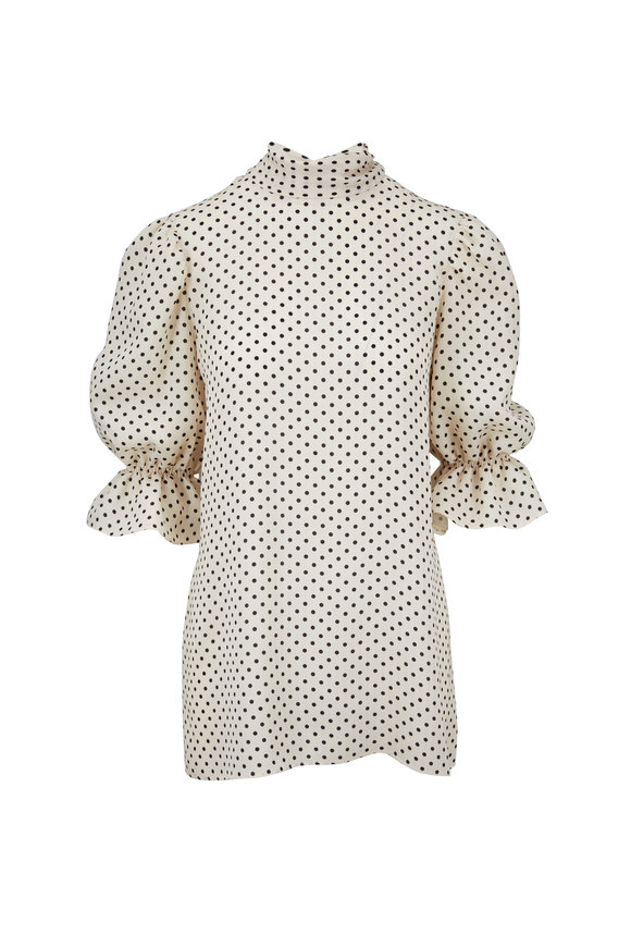 Valentino Black & White Georgette Polka Dot Elbow Sleeve Top