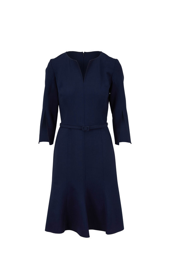 Oscar de la Renta Navy Slit Sleeve Belted Dress