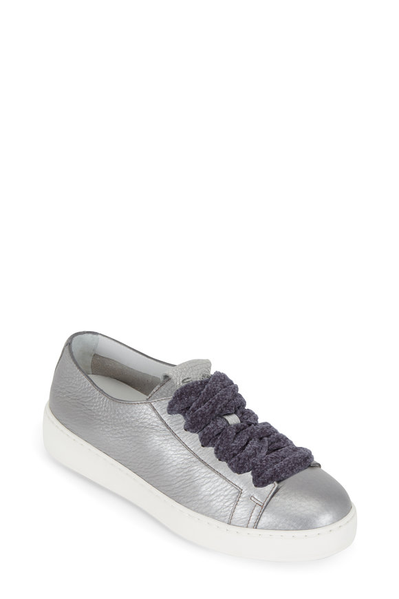 Santoni Clean Iconic Silver Leather Sneaker