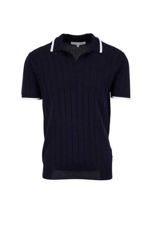Orlebar Brown Rushton Navy Blue Wool Ribbed Polo