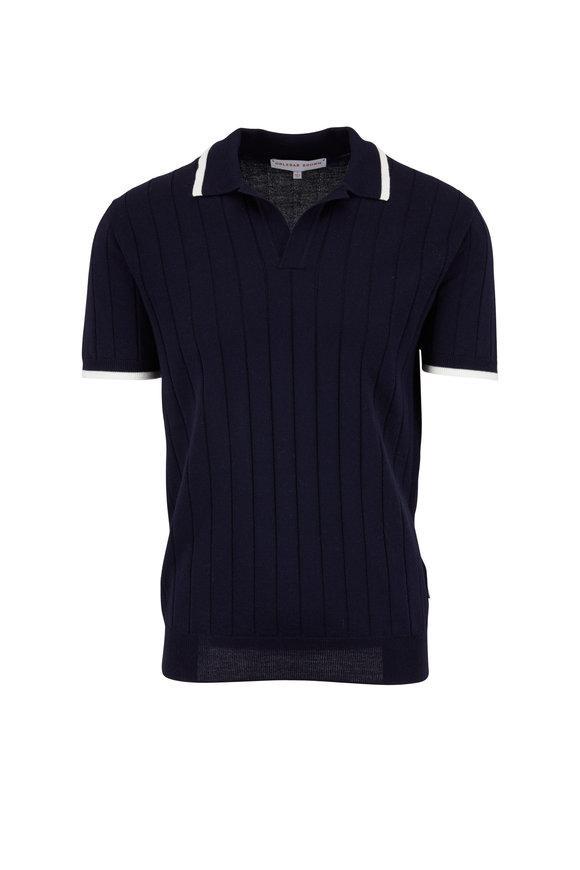 Orlebar Brown Rushton Navy Blue Wool Ribbed Polo