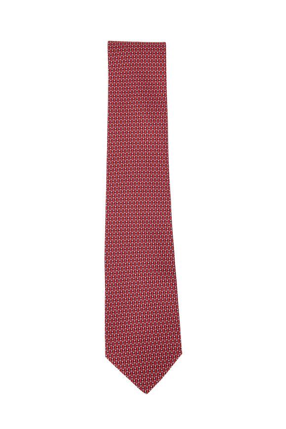 Salvatore Ferragamo Red Pencil Silk Necktie