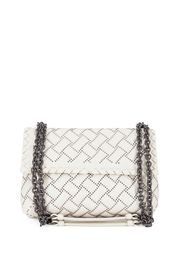 Bottega Veneta Olimpia Mist Leather Micro-Studded Small Bag