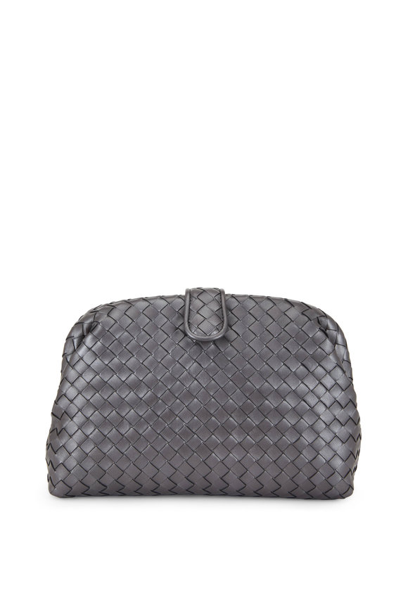 Bottega Veneta The Lauren 1980 Antique Silver Intrecciato Clutch