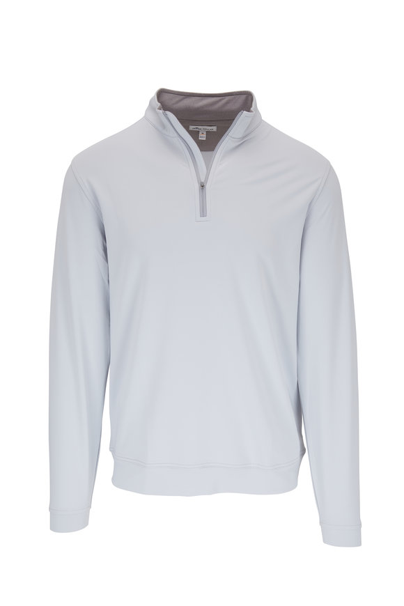 Peter Millar Light Gray Performance Quarter-Zip Pullover
