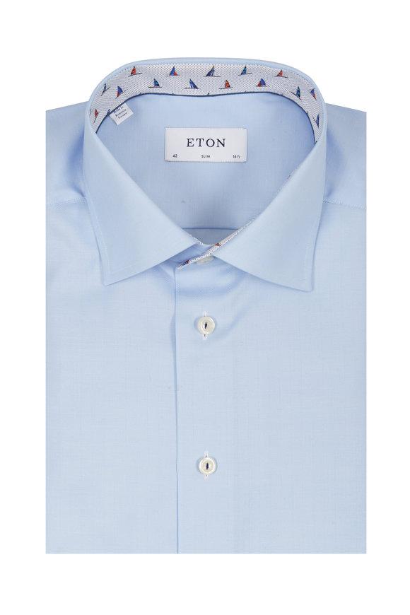 Eton Blue Herringbone Slim Fit Dress Shirt