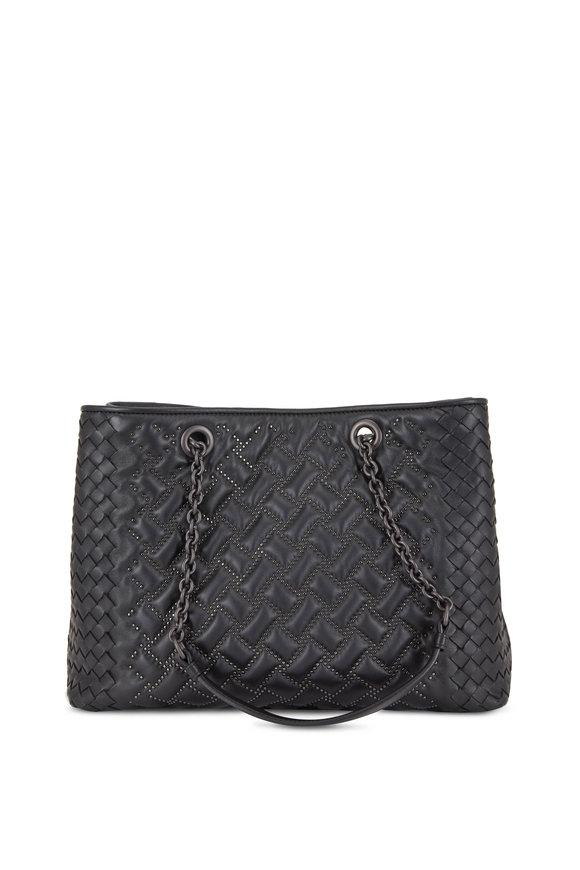 Bottega Veneta Black Nappa Leather Micro Studded Medium Tote Bag