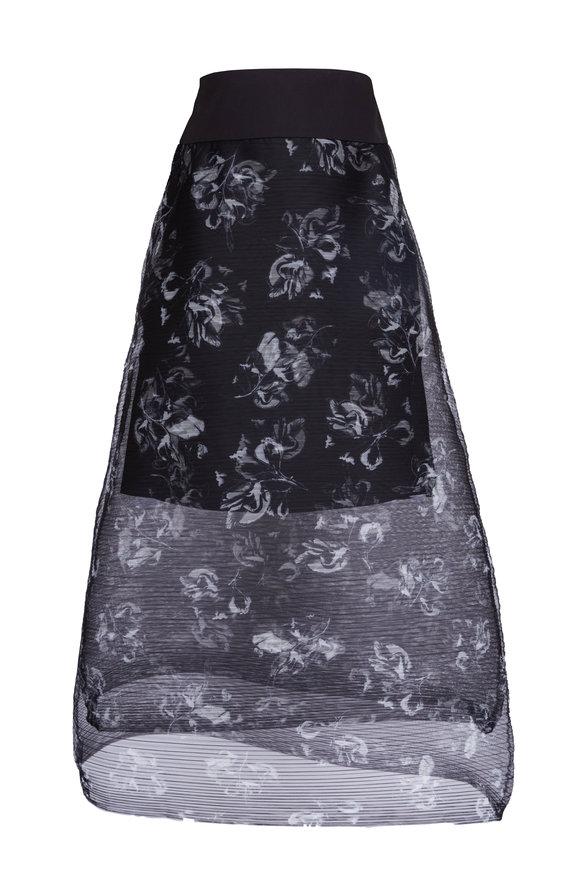 Dorothee Schumacher Nocturnal Transparency Grey & Black Floral Skirt