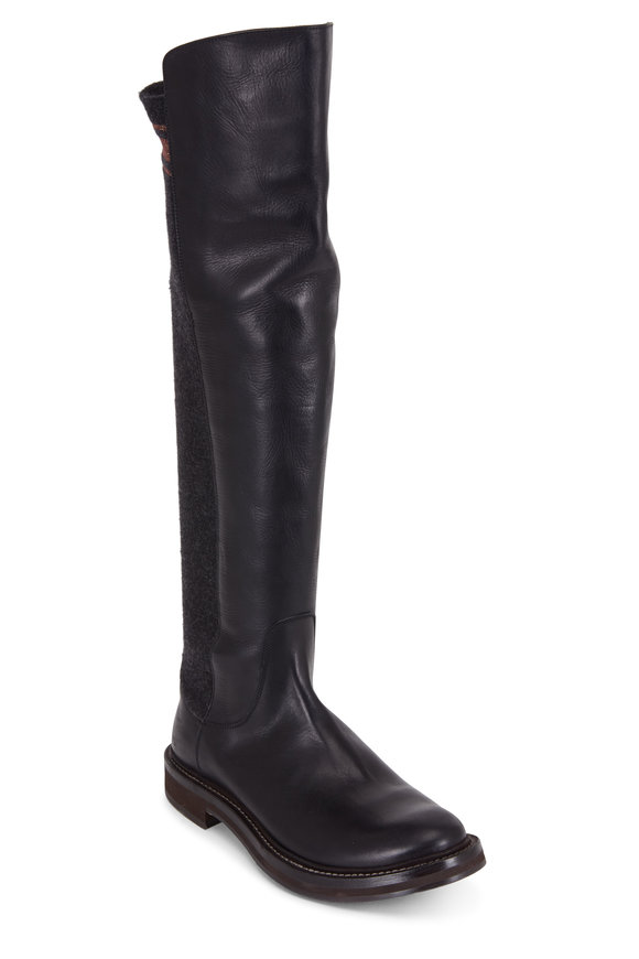 Brunello Cucinelli Black Leather & Knit Over-The-Knee Boot