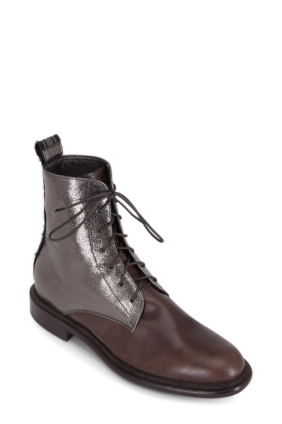 Brunello Cucinelli Brown Crackled Leather Lace-Up Boot