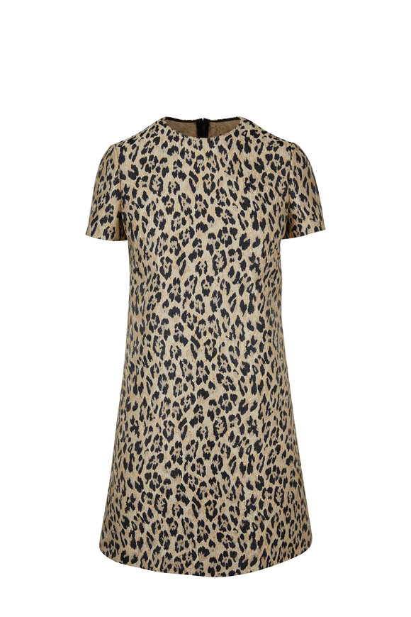 Valentino Metallic Leopard Brocade Short Sleeve Dress